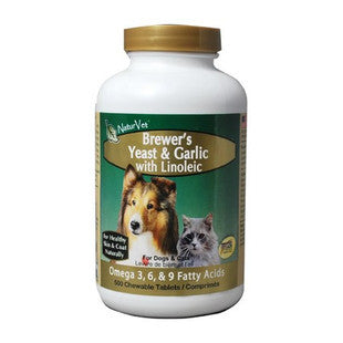 NATURVET BREWERS YEAST AND GARLIC TABLETS 500CT - BD Luxe Dogs & Supplies