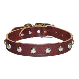BURGUNDY LEATHER STUDDED DOG COLLAR - BD Luxe Dogs & Supplies