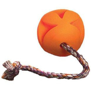 4.5 INCH ORANGE CLUTCH BALL WITH ROPE DOG TOY - BD Luxe Dogs & Supplies