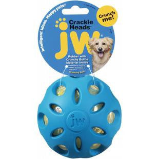 JW PET MEDIUM CRACKLE HEADS CRACKLE BALL DOG TOY