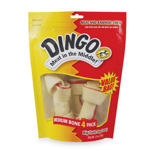 DINGO MEAT AND RAWHIDE MEDIUM BONE 4 PACK CHEWS - BD Luxe Dogs & Supplies