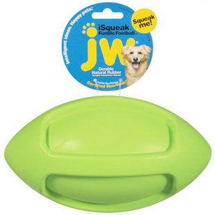 JW PET SMALL FUNBLE FOOTBALL RUBBER DOG TOY - BD Luxe Dogs & Supplies - 1