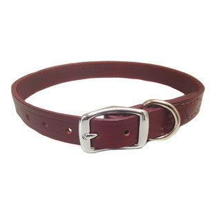 PREMIUM BURGUNDY LATIGO STITCHED LEATHER DOG COLLAR - BD Luxe Dogs & Supplies