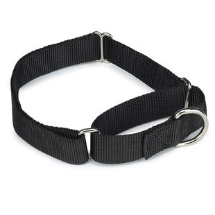 BLACK NYLON SOFT MARTINGALE TRAINING DOG COLLAR - BD Luxe Dogs & Supplies