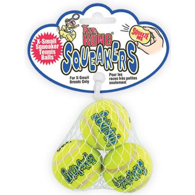 3 PACK EXTRA SMALL AIR KONG SQUEAKER TENNIS BALLS - BD Luxe Dogs & Supplies
