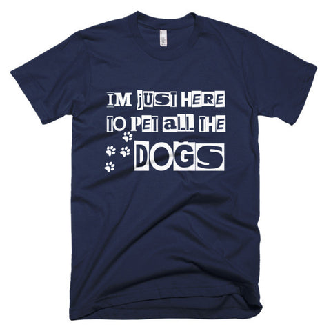 Short sleeve mens PET THE DOGS t-shirt - BD Luxe Dogs & Supplies - 1