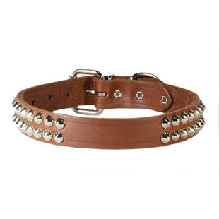 TWO ROW CONE STUDDED LEATHER DOG COLLAR - BD Luxe Dogs & Supplies - 1