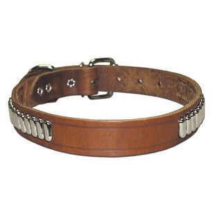 OBLONG STUDDED BULLY LEATHER DOG COLLAR - BD Luxe Dogs & Supplies