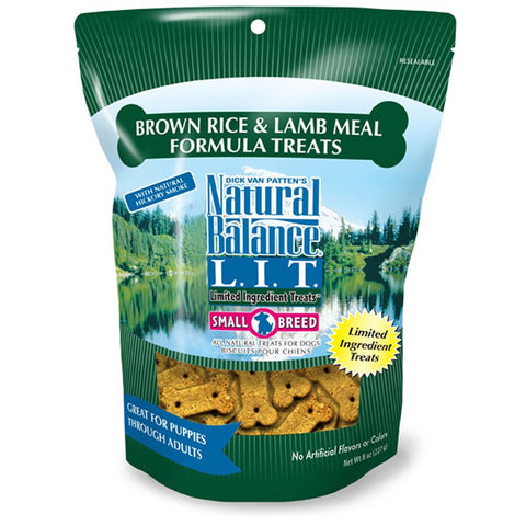 NATURAL BALANCE SMALL BREED LAMB AND RICE DOG TREATS 8OZ - BD Luxe Dogs & Supplies - 1