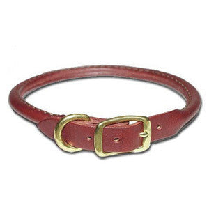 PREMIUM BURGUNDY ROUND ROLLED LEATHER DOG COLLAR - BD Luxe Dogs & Supplies