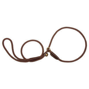 DARK BROWN SMALL MENDOTA BRITISH STYLE SLIP LEAD 3/8 X 6 FT - BD Luxe Dogs & Supplies