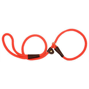 RED LARGE MENDOTA BRITISH STYLE SLIP LEAD 1/2 X 6 FT - BD Luxe Dogs & Supplies