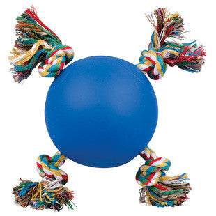 5 INCH BLUE TUGGY BALL WITH ROPE DOG TOY - BD Luxe Dogs & Supplies
