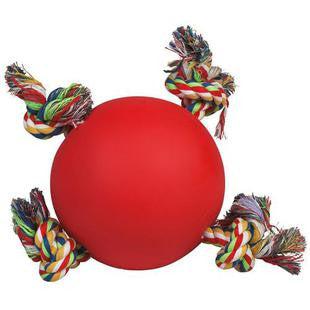 6.5 INCH RED TUGGY BALL WITH ROPE DOG TOY - BD Luxe Dogs & Supplies
