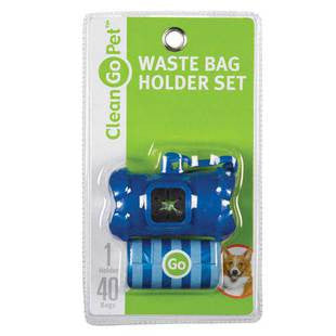 BLUE CLEAN GO PET WASTE BAG HOLDER WITH 40 BAGS - BD Luxe Dogs & Supplies - 1