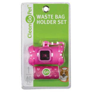 PINK CLEAN GO PET WASTE BAG HOLDER WITH 40 BAGS - BD Luxe Dogs & Supplies - 1