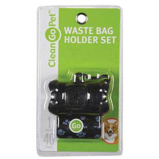 BLACK CLEAN GO PET WASTE BAG HOLDER WITH 40 BAGS - BD Luxe Dogs & Supplies - 1