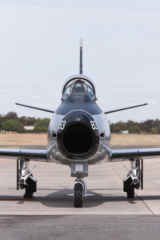 Image of a CAC Sabre after start-up at Temora Airport.