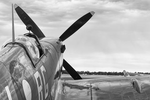 Image of a Spitfire HFVIII before start-up at Temora Airport.