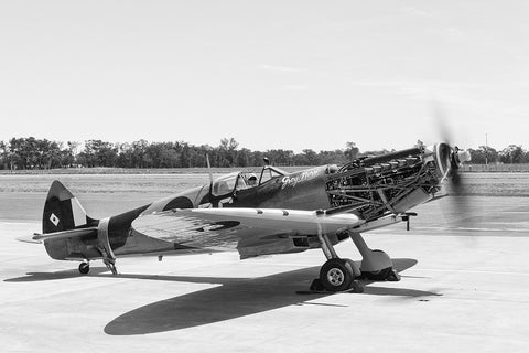 Image of a Spitfire HFVIII during tests at Temora Airport.