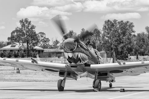 Image of a Spitfire HFVIII during start-up at Temora Airport.