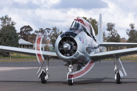 Image of a T-28A Trojan while it taxis at Temora Airport.