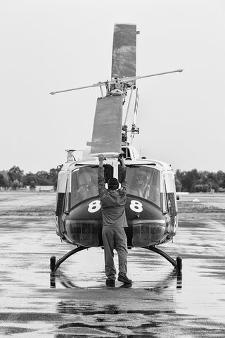 Image of a UH-1B Iroquois before start-up at Temora Airport.