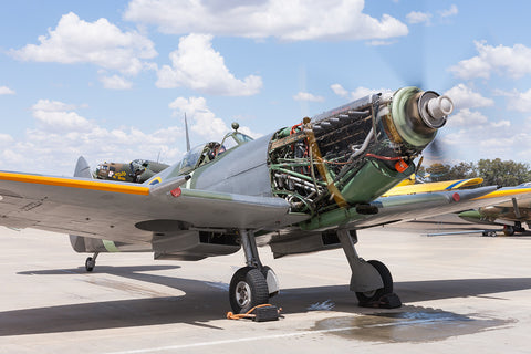 Image of a Spitfire LFXVI during tests at Temora Airport.