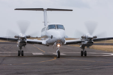 Image of a King Air K-350 while it taxis at Point Cook.