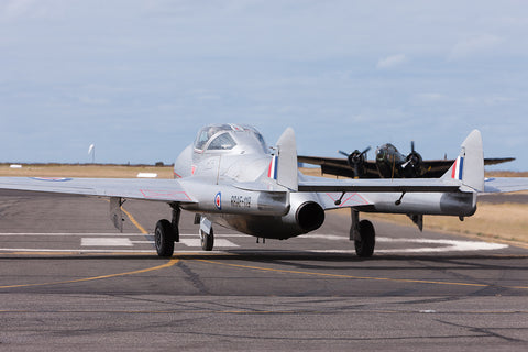 Image of a Vampire T11 while it taxis at Point Cook.