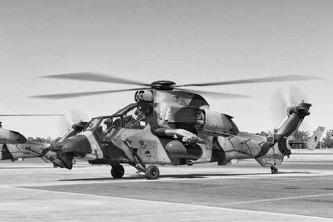 Image of an EC-665 Tiger before shutdown at Temora Airport.