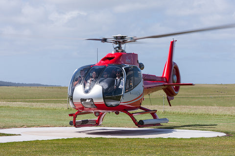 Image of an EC130 B4 Ecureuil while hovering at Princetown.