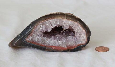 Amethyst Quartz Crystal Semi Geode - Polished- A131