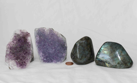 Amethyst - Labradorite - 4 pieces - Package A166