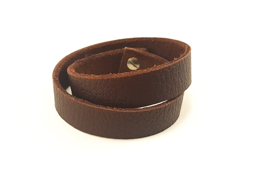 Reddish Brown Double Wrap Leather Cuff
