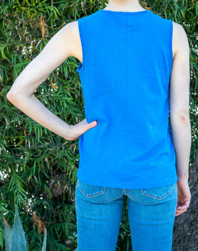 Raw Edge Tank Dodger Blue