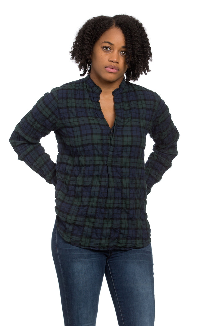 Monet Top Blackwatch Plaid Crinkle