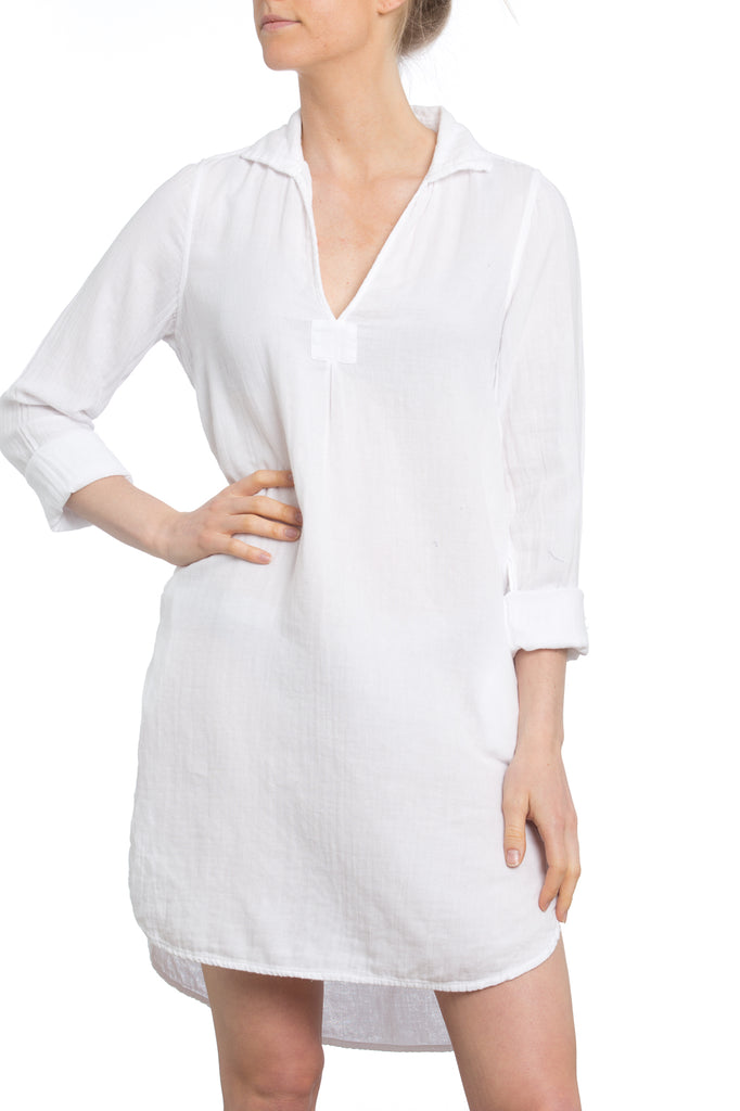 St. Tropez Dress in White Gauze