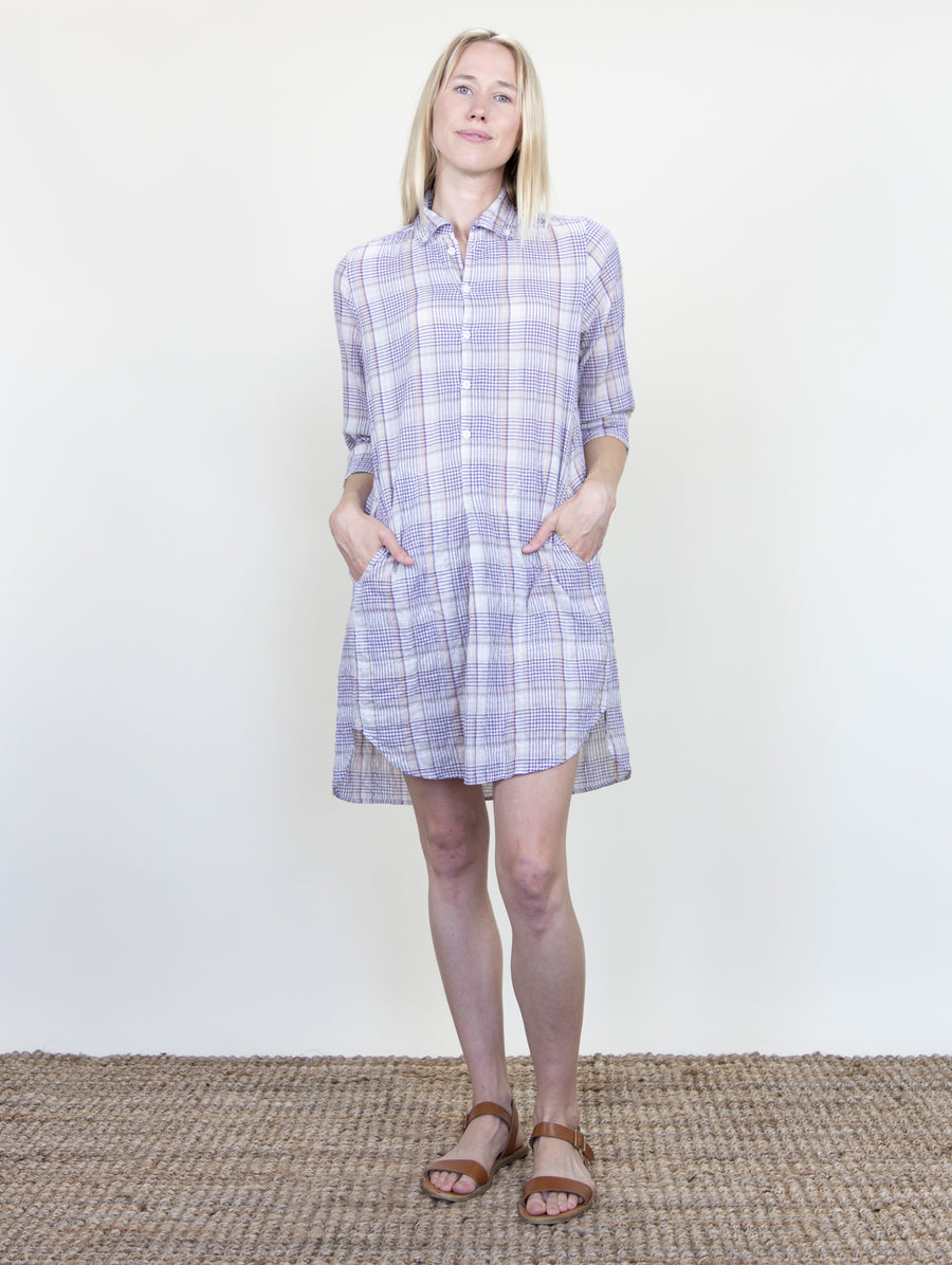 Picasso Dress Lilac Plaid Crinkle