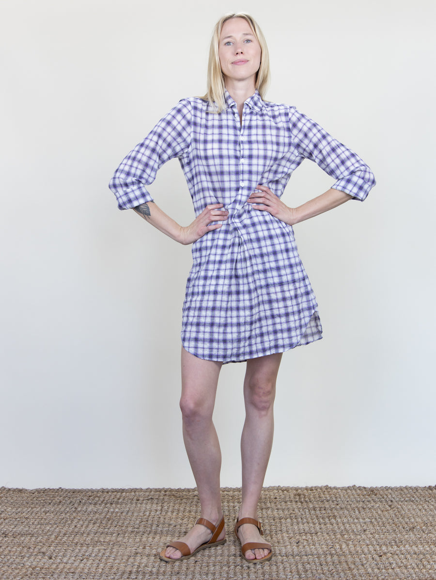 Picasso Dress Violet Plaid Crinkle