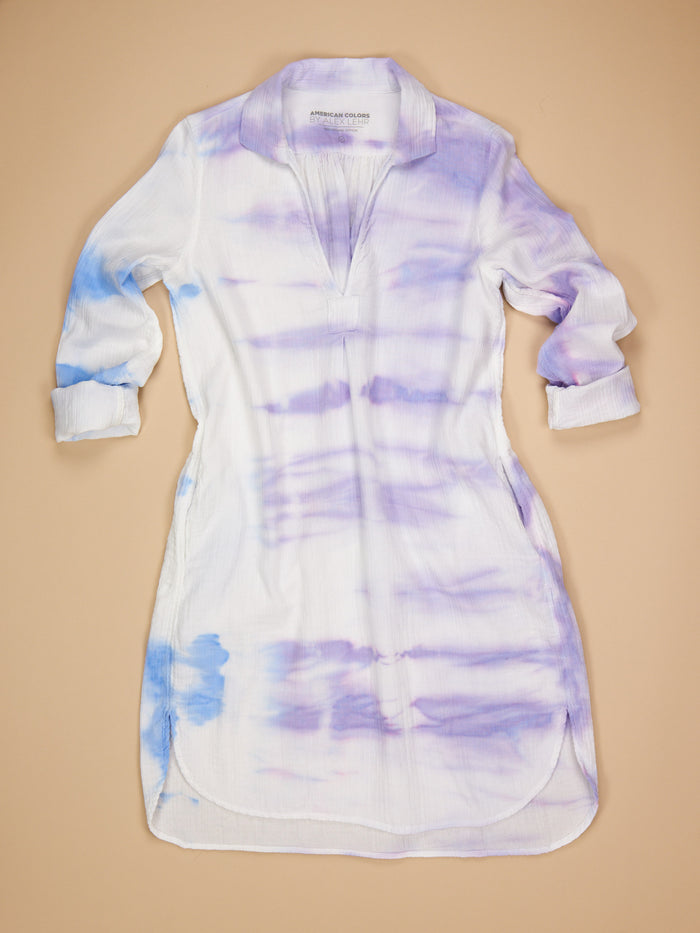 St. Tropez Dress Blue/Purple Tie Dye Gauze
