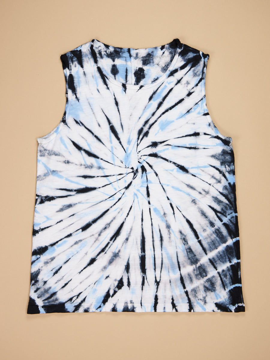 Tie Dye Raw Edge Tank White