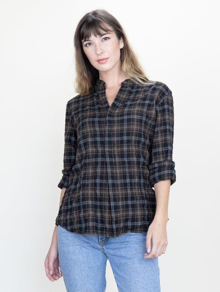 Monet Top Chestnut Plaid Crinkle