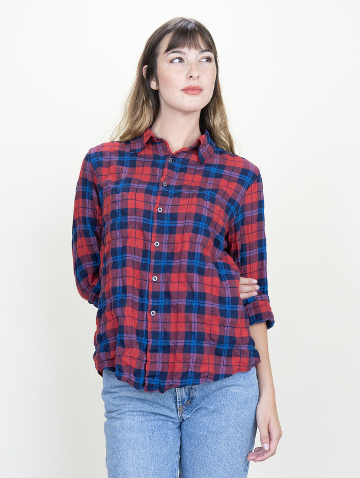 Work Shirt Barn Red Plaid Crinkle