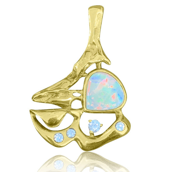 18kt Yellow Gold White Opal and Diamond pendant - Masterpiece Jewellery Opal & Gems Sydney Australia | Online Shop