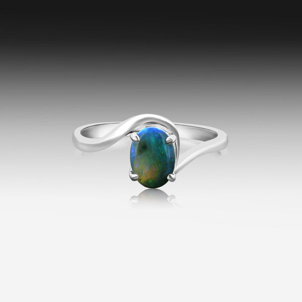 14kt White Gold Black Opal ring