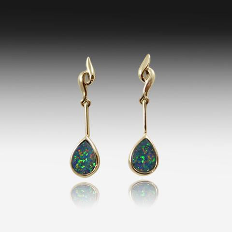 14kt Gold Opal earrings