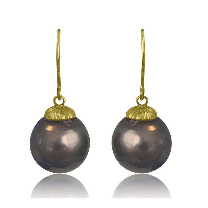 18kt Yellow Gold Black Pearl 13mm drop earings - Masterpiece Jewellery Opal & Gems Sydney Australia | Online Shop