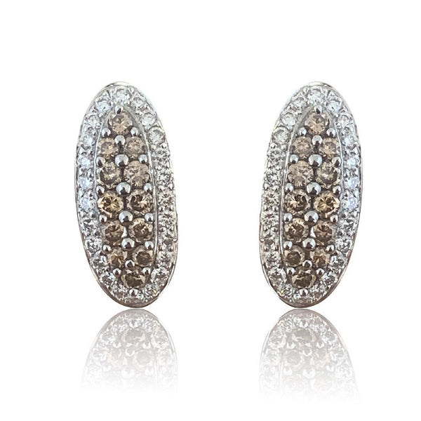 18K COGNAC & WHITE DIAMONDS EARRINGS - Masterpiece Jewellery Opal & Gems Sydney Australia | Online Shop