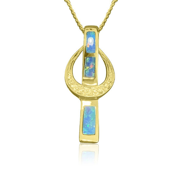 14kt Yellow Gold Opal inlay pendant - Masterpiece Jewellery Opal & Gems Sydney Australia | Online Shop